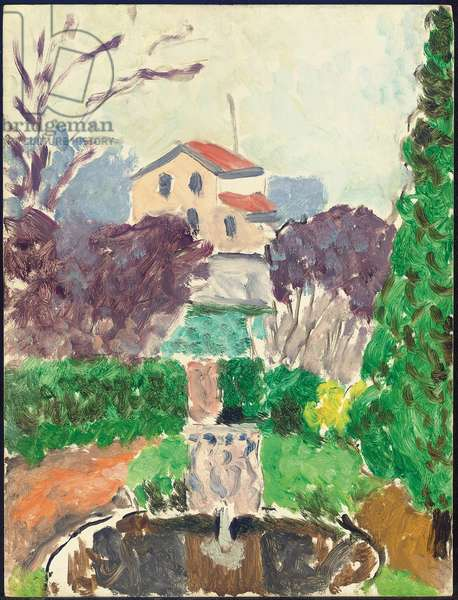 Garden of the artist at, Issy-les-Moulineaux, c.1918 (oil on panel)