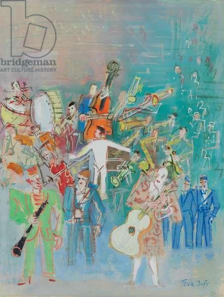 Clown Musicians,  (gouache on paper)