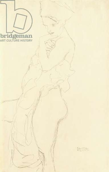 Nude Standing left, holding a towel to the body, 1917 (pencil on buff paper)