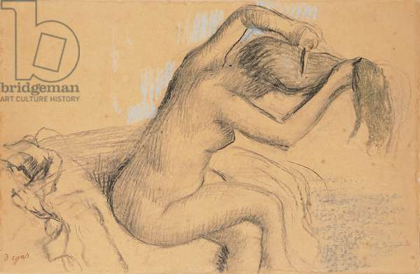 Naked Woman Styling her Hair; Femme nue se coiffant, c.1890-1895 (pastel and charcoal on tan paper laid down on board)