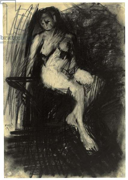 Study of a Seated Nude, 1955 (charcoal on paper)