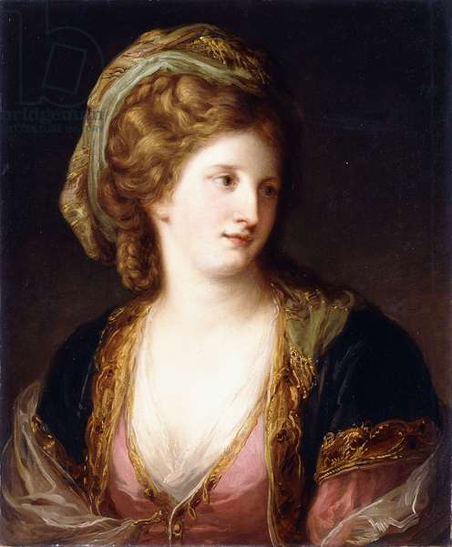 Portrait of the Artist, bust length, wearing a Pink Dress and a Gold embroidered blue robe, 1767 (oil on canvas)