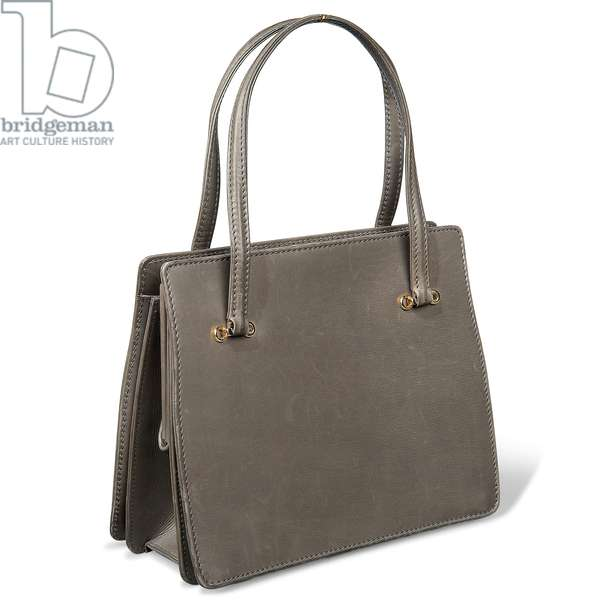 Grey leather handbag owned by Margaret Thatcher, by Asprey, London, early 1980s (photo)
