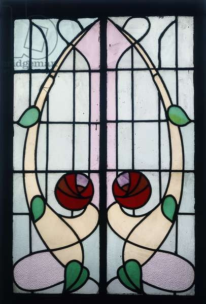 A stained glass panel depicting stylised roses (leaded stained glass, wooden frame)
