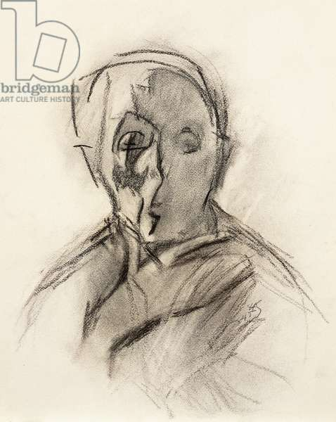 Self Portrait of the Artist with Eyes Closed, 1945 (charcoal on paper)
