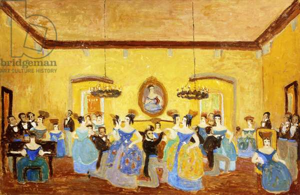 The Colonial Minuet; El Minue Colonial,  (oil on canvas)