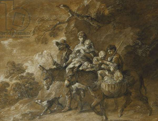 A Peasant Family Going to Market, (black and white chalk, stump, grey and brown wash extensively he)
