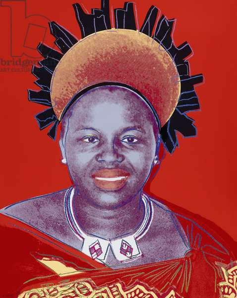 Reigning Queens (Royal Edition) - Queen Ntombi Twala of Swaziland, 1985 (screeprint in colours with diamond dust on lenox museum board)