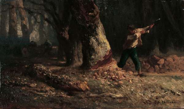 Woodcutter in the Forest (oil on panel) (recto of 1066032)