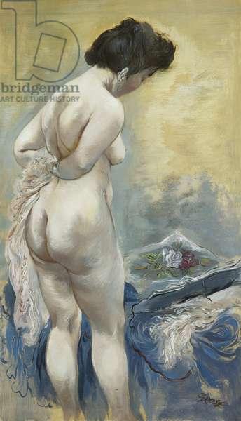 Eva Die Mappie Betzachtend, c. 1940 (oil on paper)