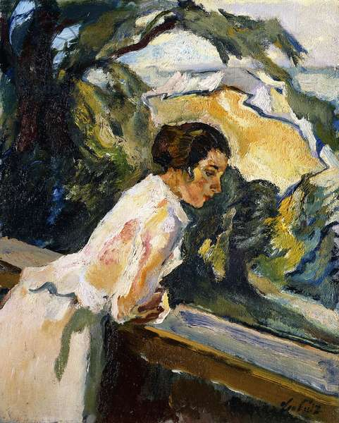 Frieda, the Artist's Wife, Leaning over the Balcony, c.1919-1922 (oil on canvas)