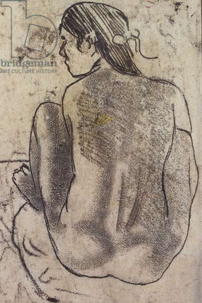 Seated Tahitian Nude from the Back, c.1902 (monotype)