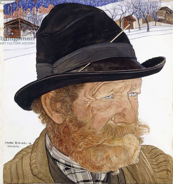Man from Saviese, 1909 (w/c, gouache and pencil on vellum)