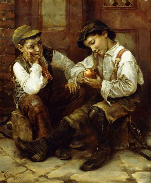 Street Urchins,  (oil on canvas)