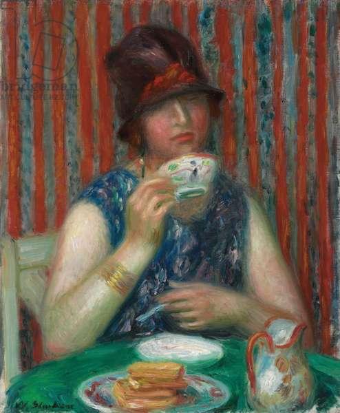 Girl with Teacup, c.1920 (oil on canvas)