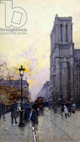 Notre Dame de Paris,  (gouache on paperboard)