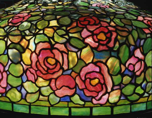 Detail from a Rosebush table lamp, Tiffany Studios (leaded glass and bronze)