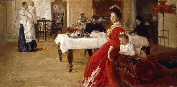 The Artist's Daughter, Tat'iana and Her Family in an Interior, (oil on canvas)