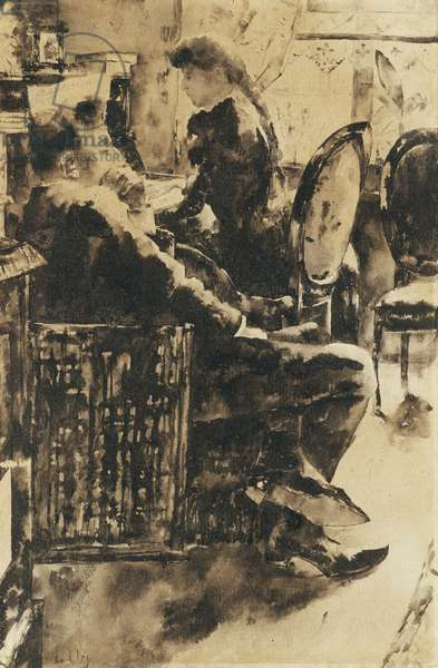 The Music; Beim Musizieren,  (pen and black ink and black wash on paper)