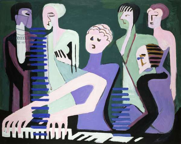 Singer on piano (pianist), 1929 (oil on canvas)