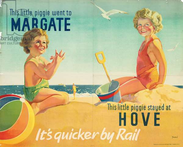 'This little piggie went to Margate... This little piggie stayed at Hove', poster advertising rail travel (colour litho)
