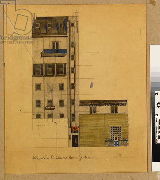 London, Elevation of Proposed Studio in Glebe Place and Upper Cheyne Walk, 1920 (pencil, w/c & bodycolour on paper)