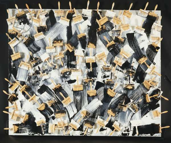 Paint Brush Painting, 1987 (paint brushes and acrylic on canvas mounted on panel)