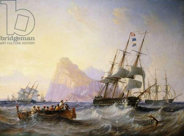 British Men O' War off Gibraltar, 1855 (oil on canvas)