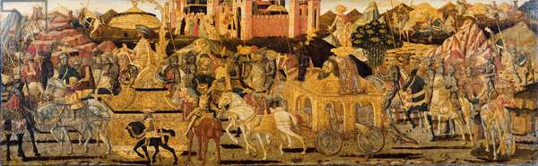Cassone central panel: The Triumph of David (tempera on wood) (see also 1113942-5)