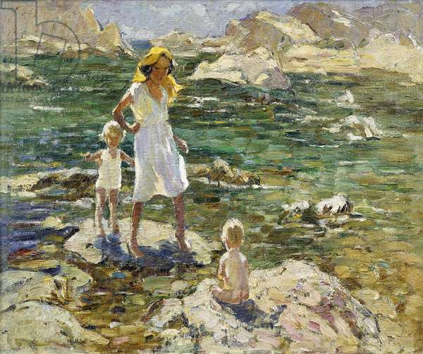 Paddling Among the Rocks, (oil on canvas)