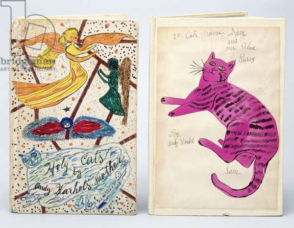 Illustrated book covers for 'Holy Cats' by Andy Warhol's Mother' and '25 Cats Name Sam and one Blue Pussy', 1954 (colour crayons, paper, leather)