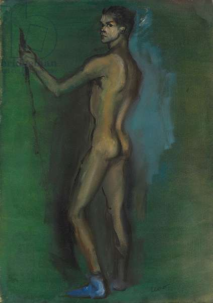 Cesare Pavani Standing Nude  (oil and brush and ink on paper)