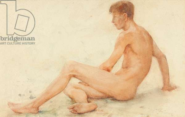 Study of a male nude, seated, turning away to the right (w/c on paper)