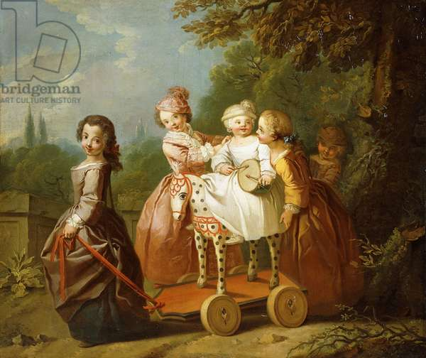 A Young Boy on a Hobbyhorse, with other Children Playing in a Garden,  (oil on canvas)