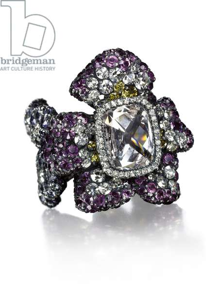 'Three Violets' ring (diamonds, amethyst, silver & gold)