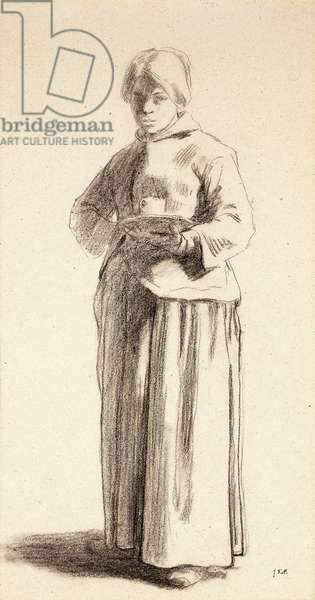 A Standing Woman Holding a Cup, c.1852-56 (black chalk on light tan paper)