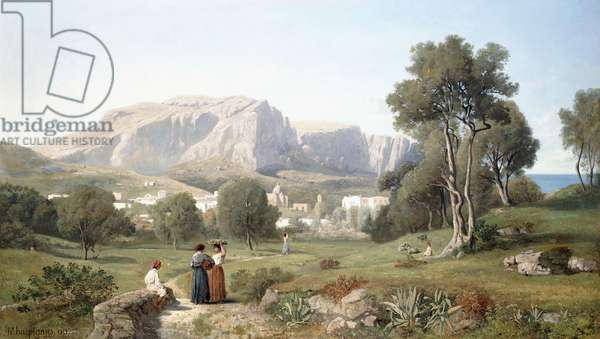 Taking in the View on the Island of Capri in the  Gulf of Naples, 1853 (oil on canvas)