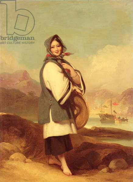 Portrait of a Eurasian girl against a Chinese River Landscape