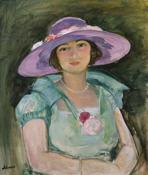 Portrait of Marthe Lebasque in a purple hat, 1925-26 (oil on canvas)