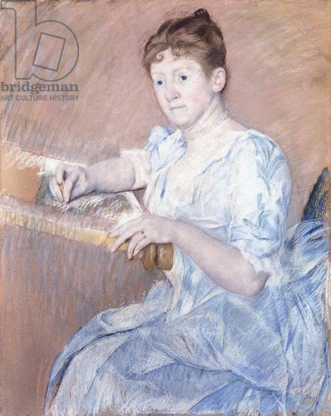 Mrs. Alexander J. Cassat in a Blue Evening Gown Seated at a Tapestry Frame,  (pastel on paper)