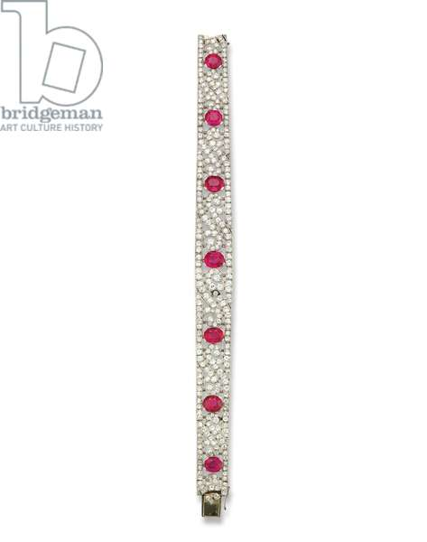 Art deco bracelet, c.1920 (rubies, diamonds, platinum & gold)