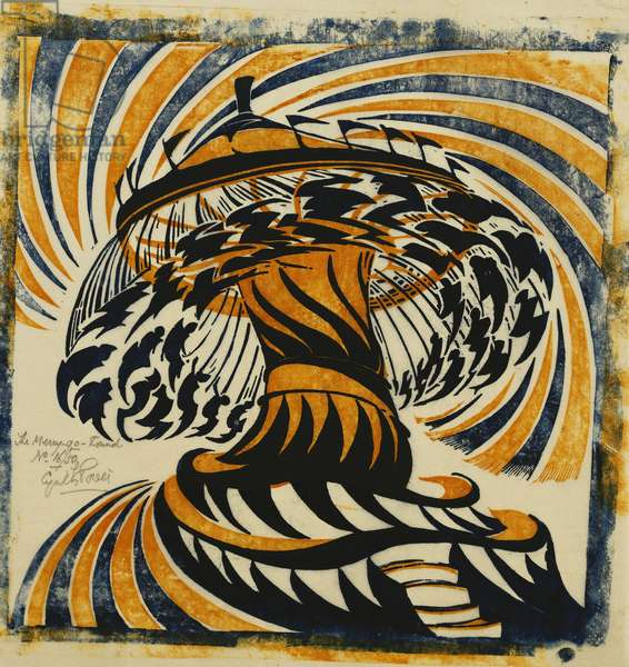 The Merry-Go-Round, 1930 (linocut printed in colours on tissue Japan. Dated 1930. 30.5 x 3)