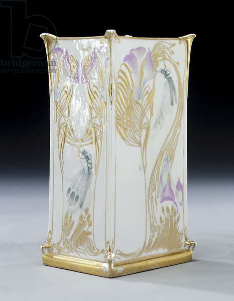 Vase decorated with dragonflies feeding from lilies, c.1903 (gilded porcelain)