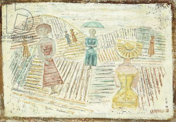 Strolling Women; Donne a Passeggio, 1957 (oil on canvas)