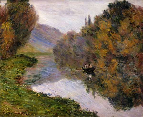 Boat on the Seine near Jeufosse,  (oil on canvas)