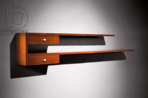 Wall-mounted shelf, c.1930 (walnut)