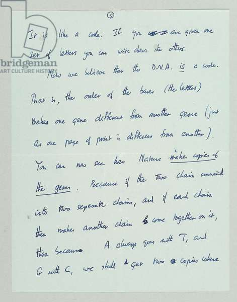Autograph letter outlining the discovery of the structure and function of DNA, Cambridge, 19th March 1953 (pen & ink on paper) (see also 742024 and