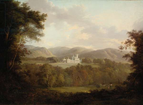 View of Dreghorn Castle, Midlothian, with figures and a hay cart in the foreground (oil on canvas)