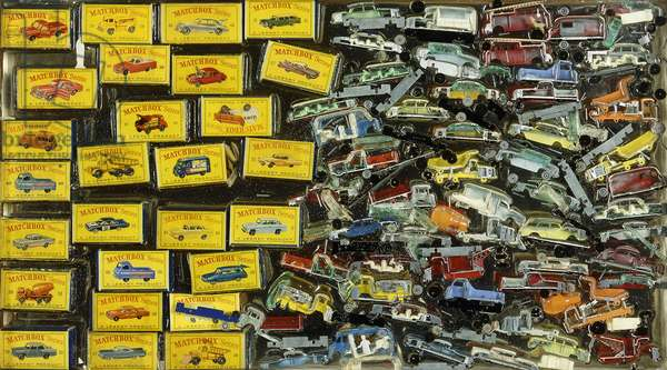 Accumulation Watchbox, 1964 (boxes and Matchbox toy cars in plexiglas)