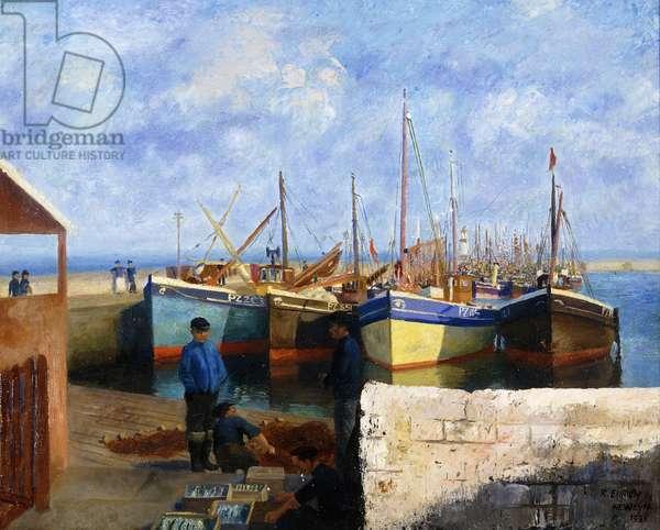 Newlyn Harbour, 1936 (oil on canvas)